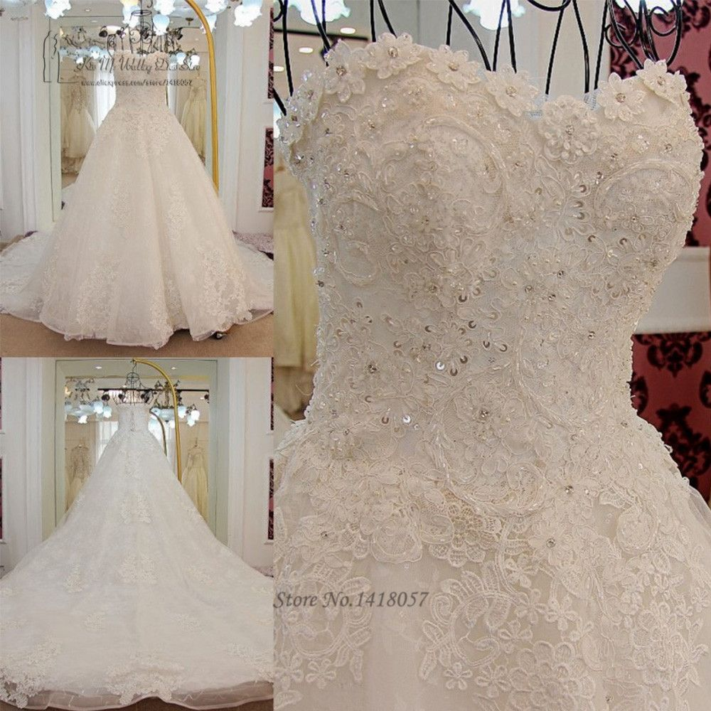 Korean princess wedding dress plus size lace long train sequin