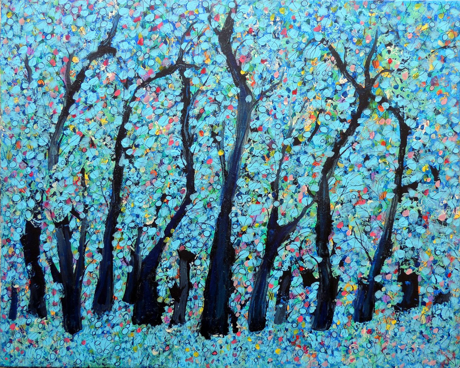 Blue heaven forest abstract nature tree art trees painting for Abstract nature painting