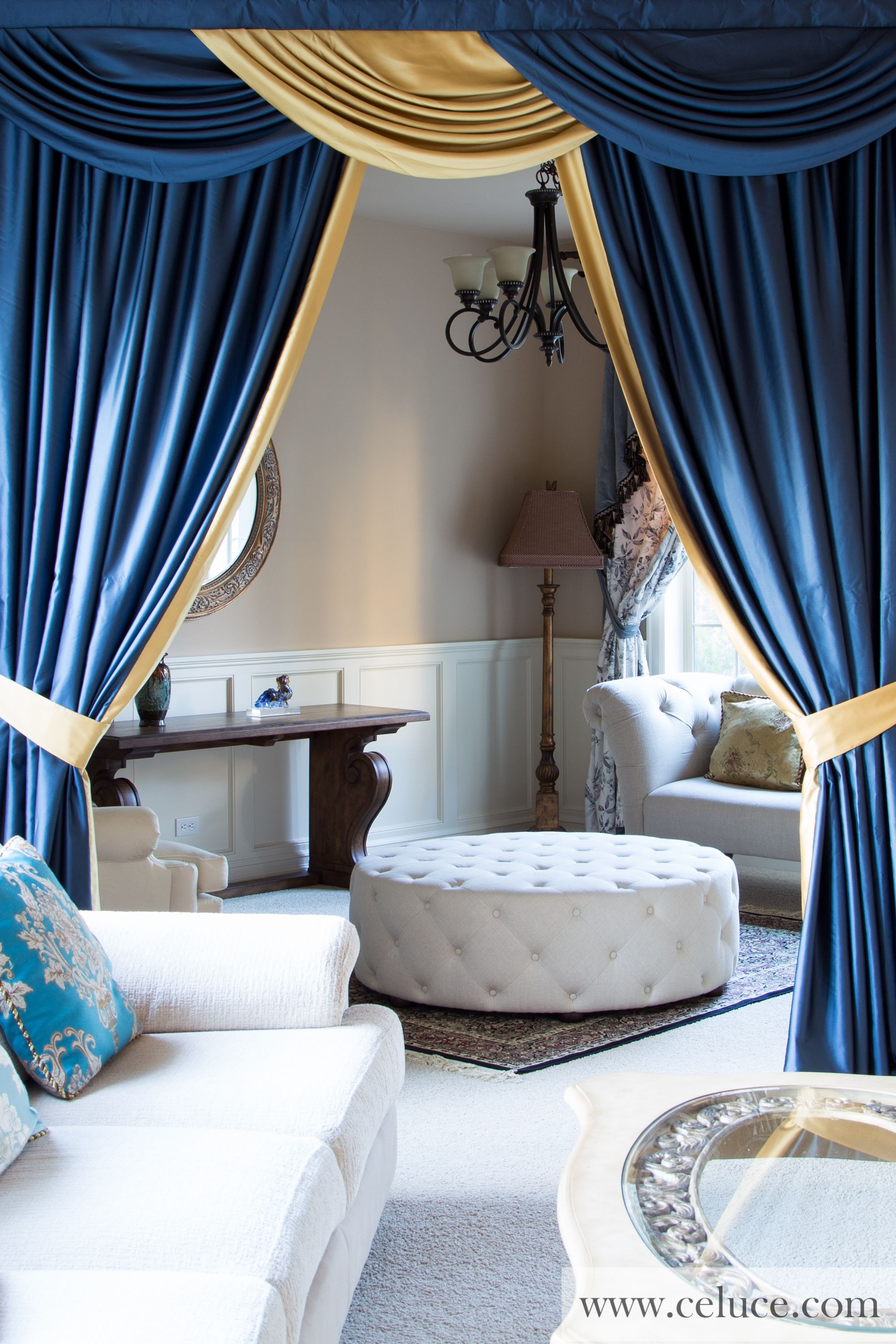 Go gold curtains and valances - Really Want Great Helpful Hints On Home Decor Go To My Amazing Site Classic Blue And Gold Swag Valance Curtain Set