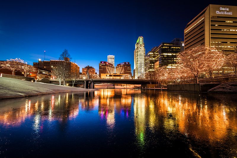 Wide Ice Reflections, Omaha NE The downtown Omaha skyline ...