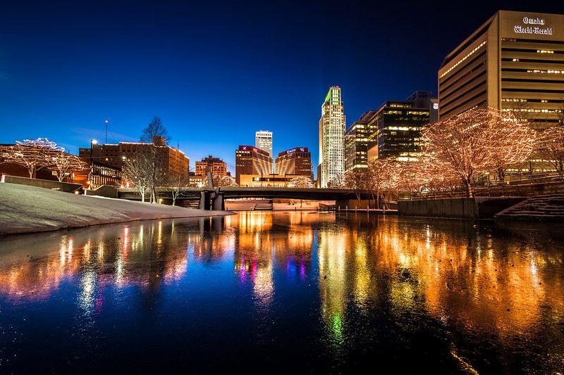 Wide Ice Reflections, Omaha NE The downtown Omaha skyline ...