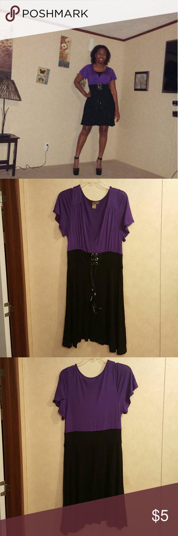 Black and Purple Dress Worn once. Material is light and comfy. Has flutter sleeves. Dresses Mini