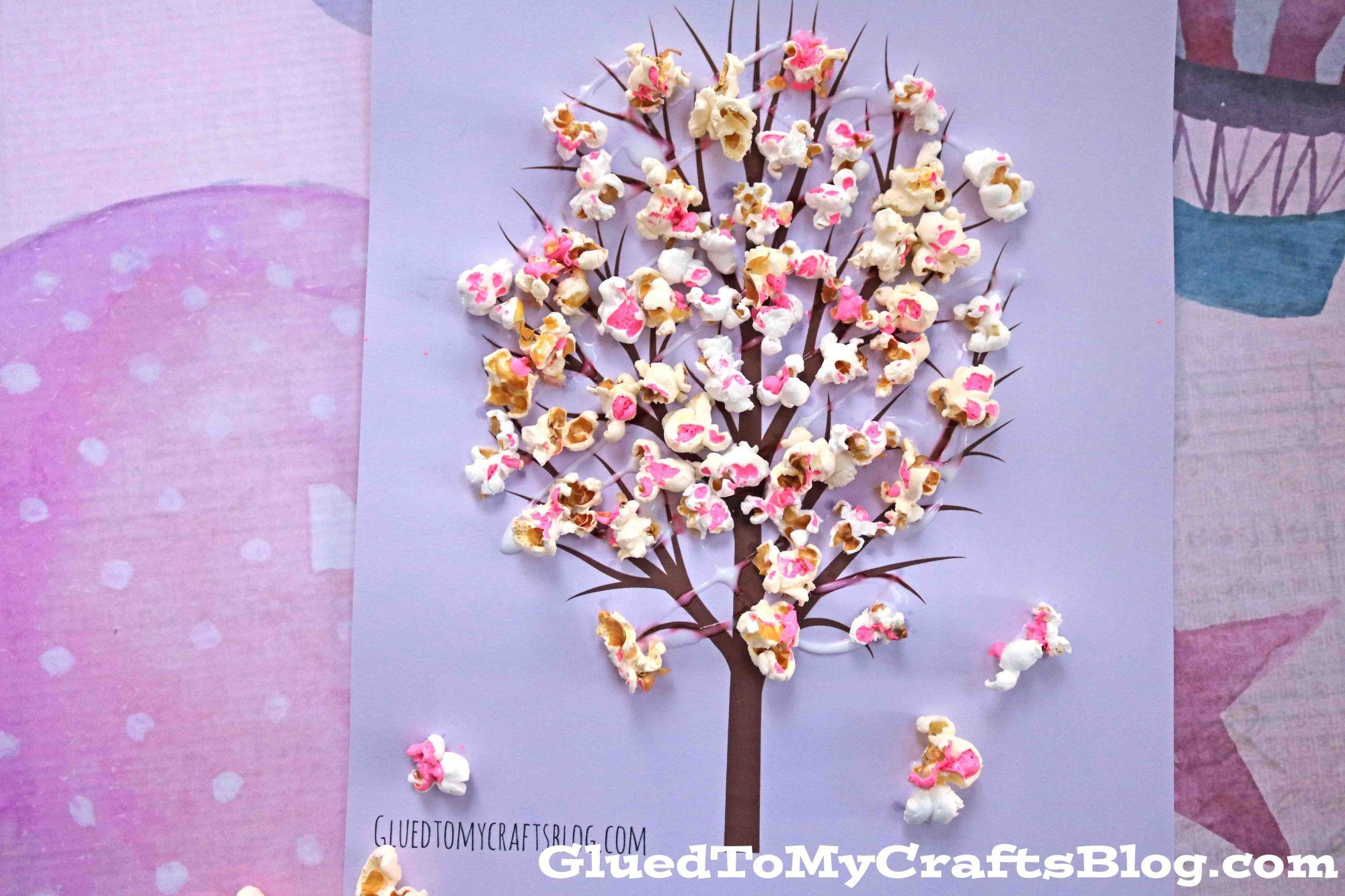 Cherry Blossom Popcorn Tree Kid Craft W Free Printable Template Popcorn Tree Crafts For Kids Crafts