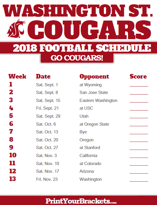 Wsu Football Schedule 2019 2018 Printable Washington State Cougars Football Schedule