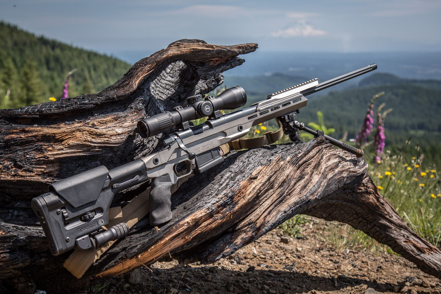Killer Innovations Nickel Boron Orias Chassis, Cross Canyon Arms 308 barreled action, Leupold Optics Mark 6 3-18 scope, Warne Scope Mounts top rail and 34 mm rings, B&T Industries atlas bipod and mono pod, Magpul PRS Stock and 762 AC Pmag, Ergo Grips tactical deluxe and Grey Ghost Gear sling. OriasChassis.com