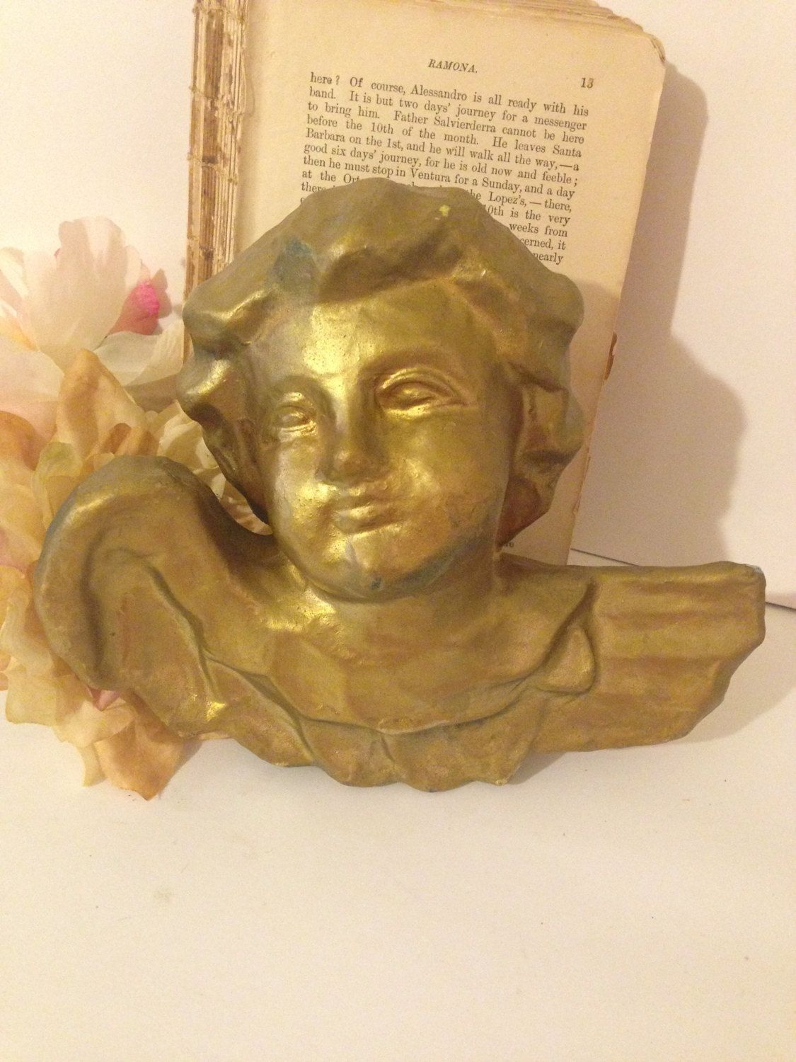 Gold Angel Paper Mache Wall Hanging Victorian Angel Decoration with ...