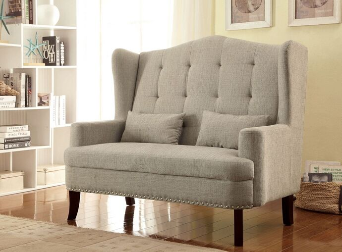 Setubal collection mid-century style high back love seat bench with