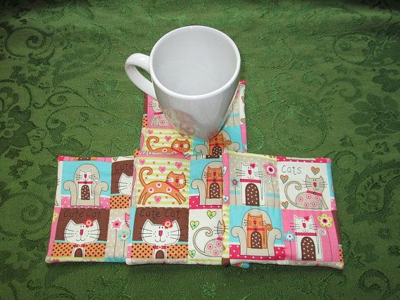 pink cats with beige backs set of mug rugs by KjsKwilting on Etsy, $7.25