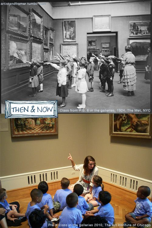 Museum Education - Then & Now  via artistandframer.tumblr.com