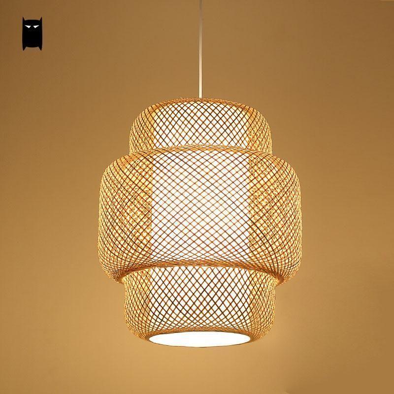 Bamboo wicker ratan lantern shade pendant light fixture ceiling bamboo wicker ratan lantern shade pendant light fixture ceiling hanging lamp aloadofball Images