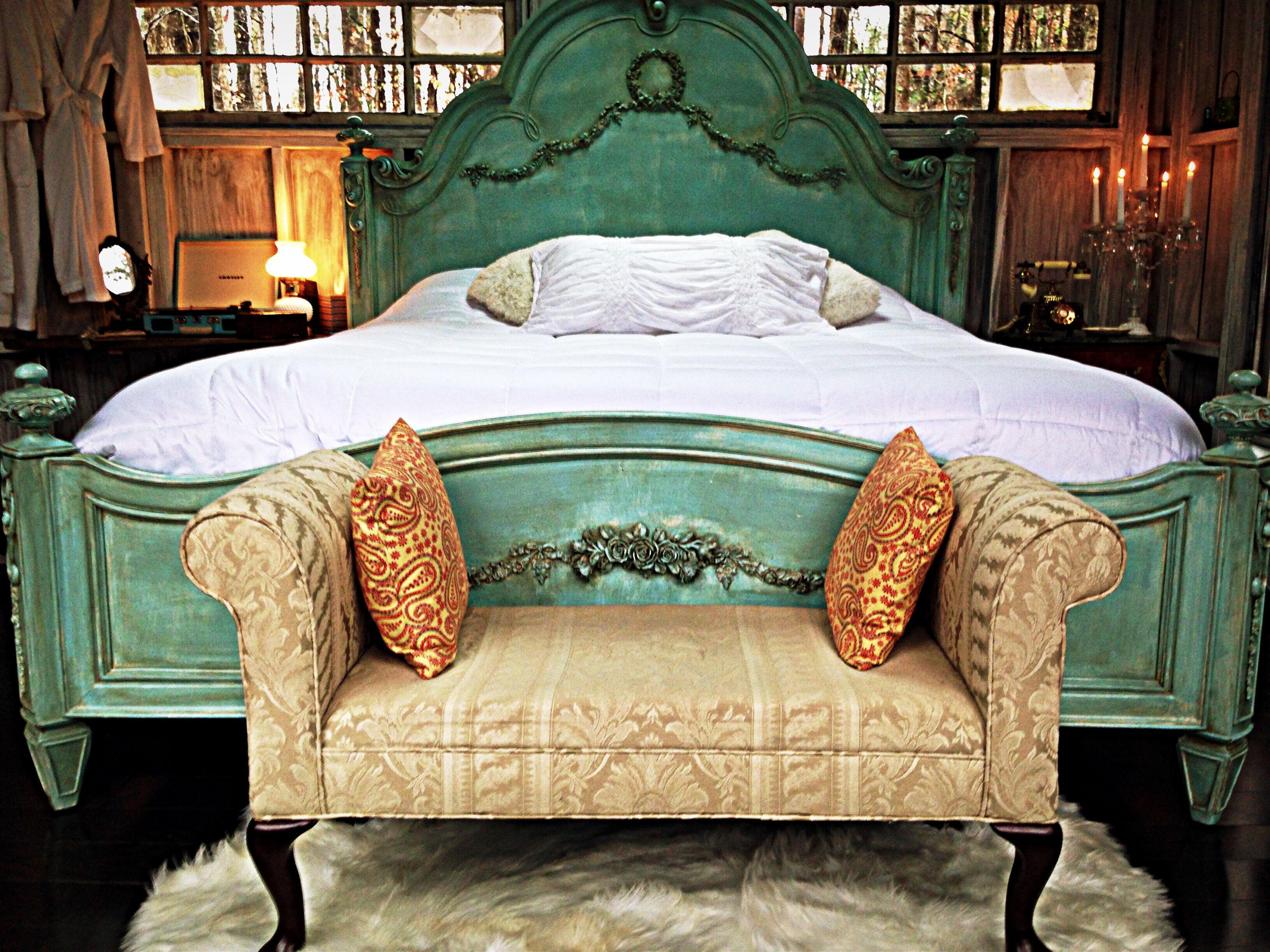 "Hand painted, antique king bed in the Bolt Farm ""Majestic"