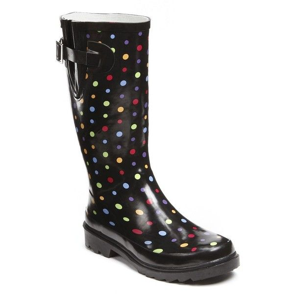 Western Chief Women's Waterproof Rain Boots ($45) ❤ liked on Polyvore featuring shoes, boots, black, buckle boots, waterproof wellington boots, rubber boots, print rain boots and black rain boots