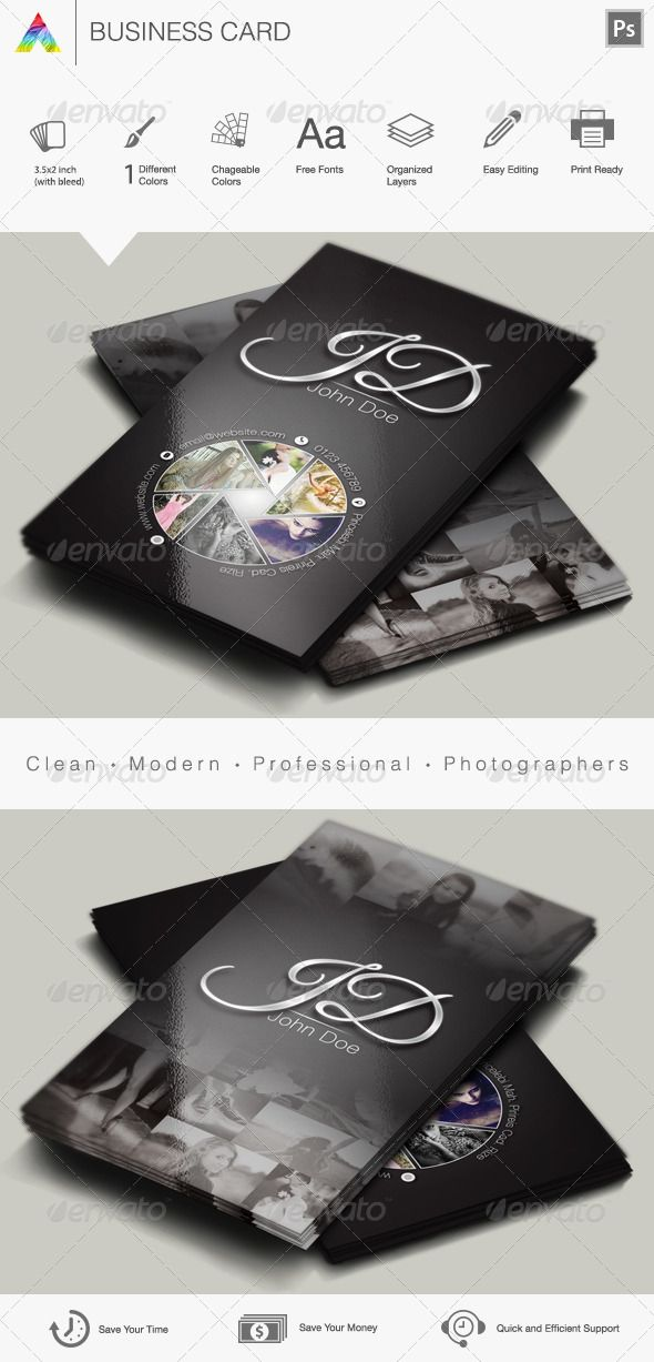 Photographer Business Card | Creativo, Tarjetas de presentación y ...