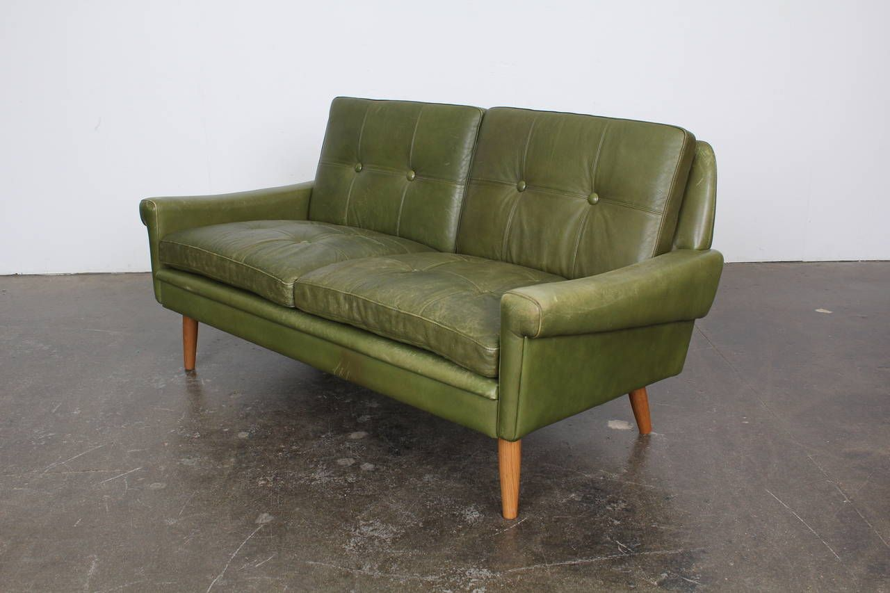Green Leather Loveseat For A Natural Impact In A Living Area Green Leather Sofa Leather Sofa Mid Century Modern Couch