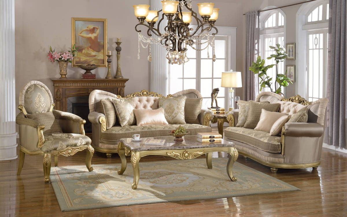 Meridian Furniture Valencia Rich Gold Living Room Set Small Living Room Furniture Furniture Sofa Set Gold Living Room