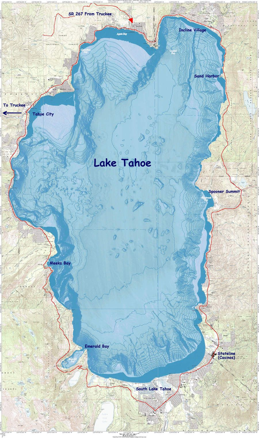 Lake Tahoe Map: Cycling route (in red), encircling an underwater