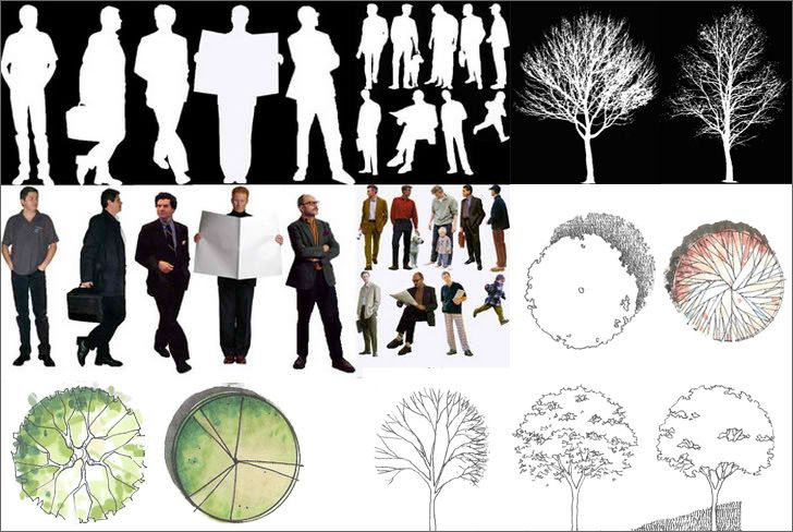 The zip content includes raster images for use in Photoshop, they are plants in elevation and plan view, silhouette of both male and female. Download the z