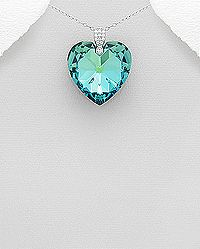 sterling silver and crystal glass heart pendant decorated with cz