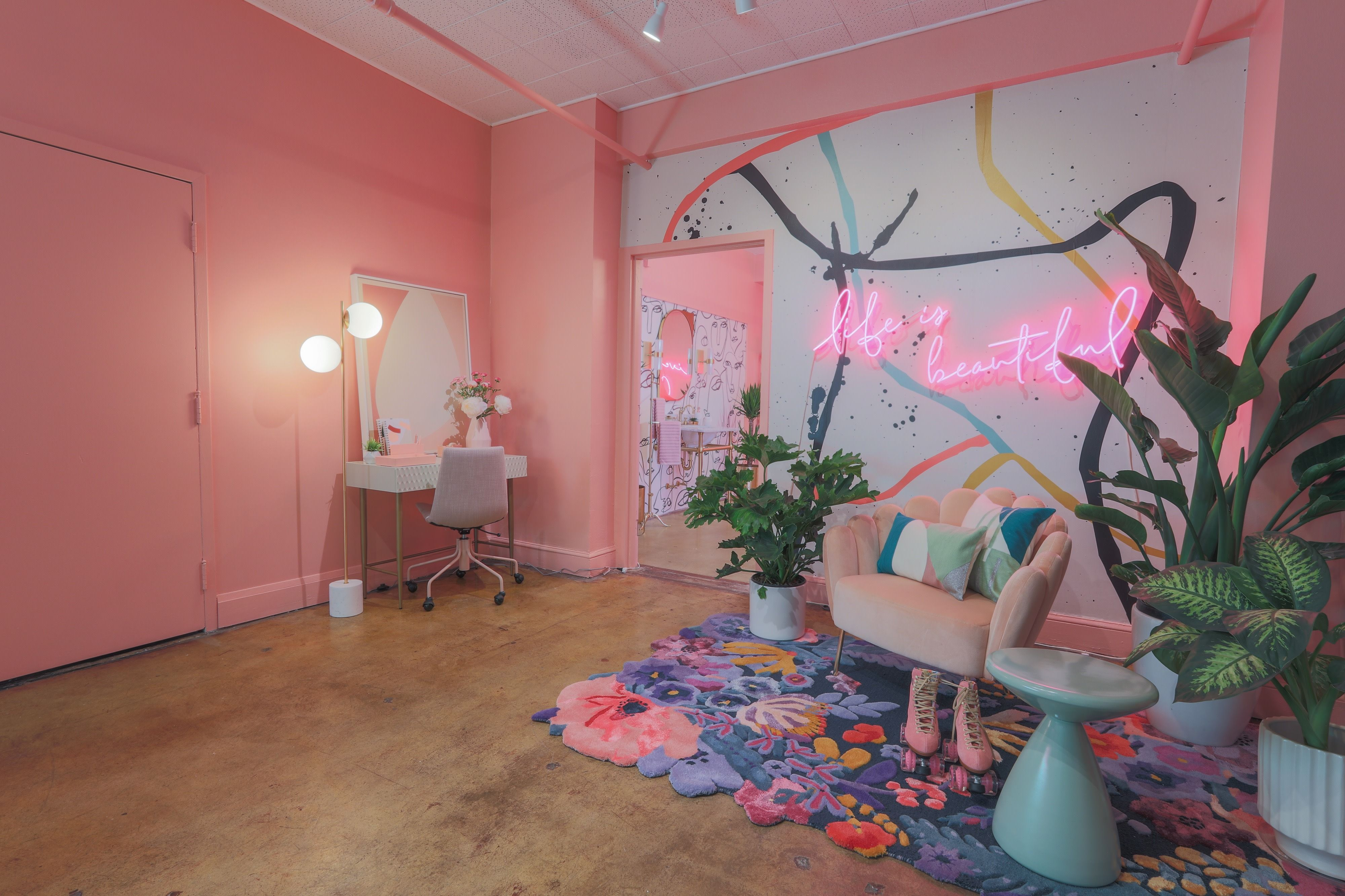 downtown 80s neon pink loft w bed and bathtub in los