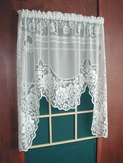 White Lace Swag Curtains One Piece Swag 60 X 48 34