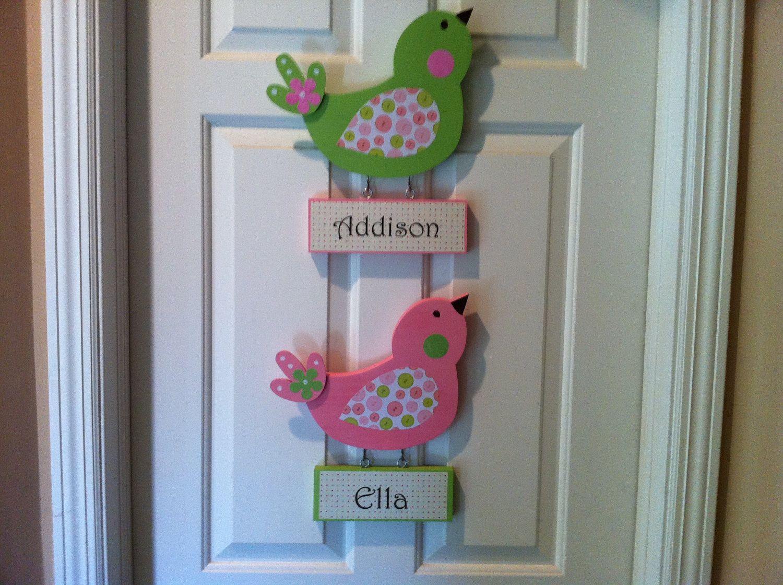 Bird Door Sign Personalized Wooden Birdie Door Hanger with Name ...