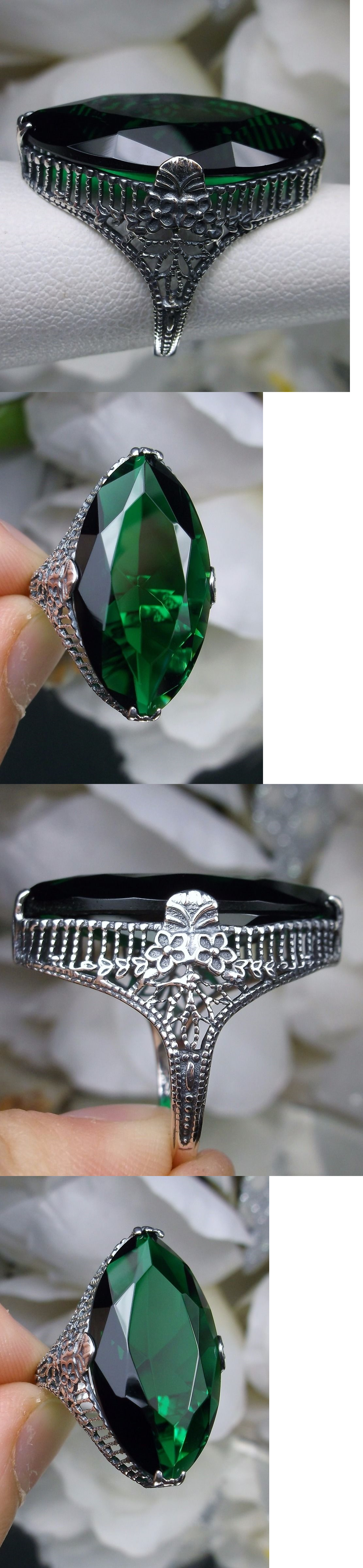 Rings 52603: 13Ct Marquise*Green Emerald* Floral Filigree Sterling Silver Ring Size Any Mto -> BUY IT NOW ONLY: $38 on eBay!
