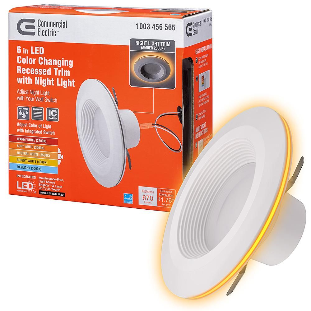 Commercial Electric 6 In Selectable Integrated Led Recessed Trim