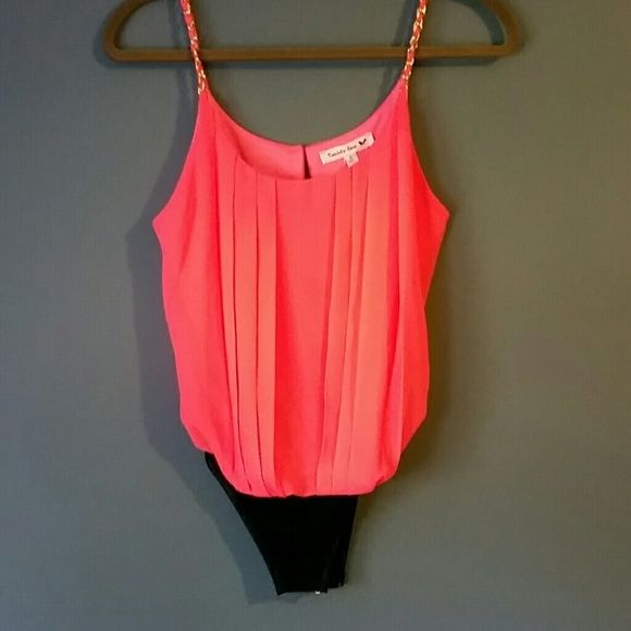 c1138183348a Hot neon pink bodysuit NEVER WORN! Neon pink pleated top