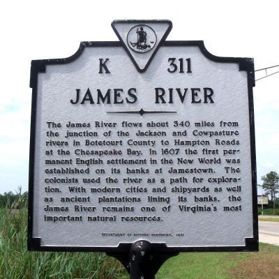Photo of James River Historical Marker