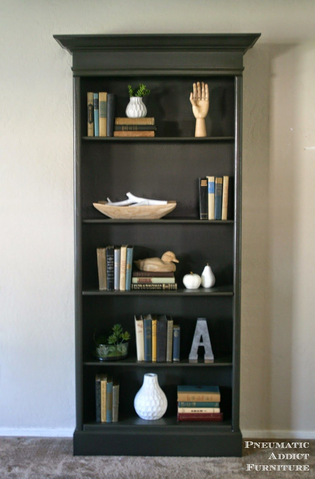 how to upgrade boring bookshelves with some 2 x 4s molding and paint wwwpneumaticaddictcom - Funky Bookshelves