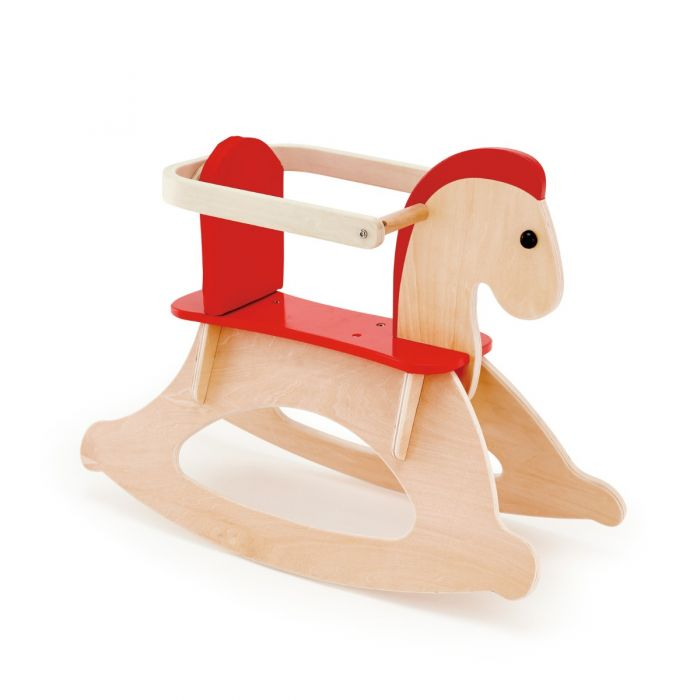Red And Natural Wooden Rocking Horse For Babies From The Well Appointed House Wooden Rocking Horse Rocking Horse Baby Farm Animals