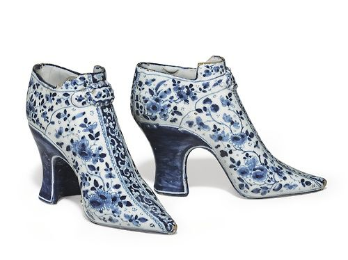 A Pair of English Delft Dated Models of Shoes  English Pottery and Chinese Export Art