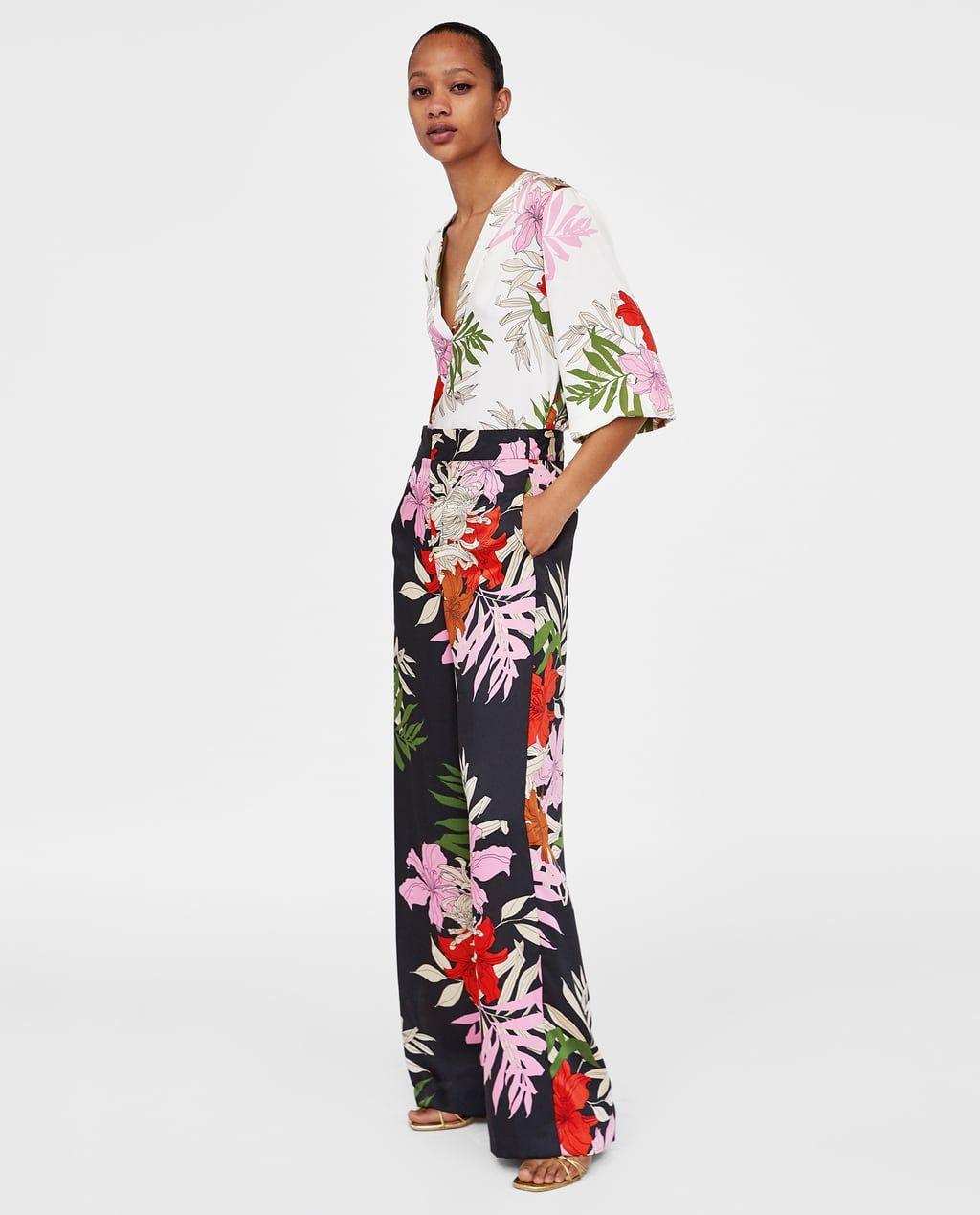 Zara Mujer Pantalon Ancho Estampado Floral Modestil Blumenmode Frauen Outfits