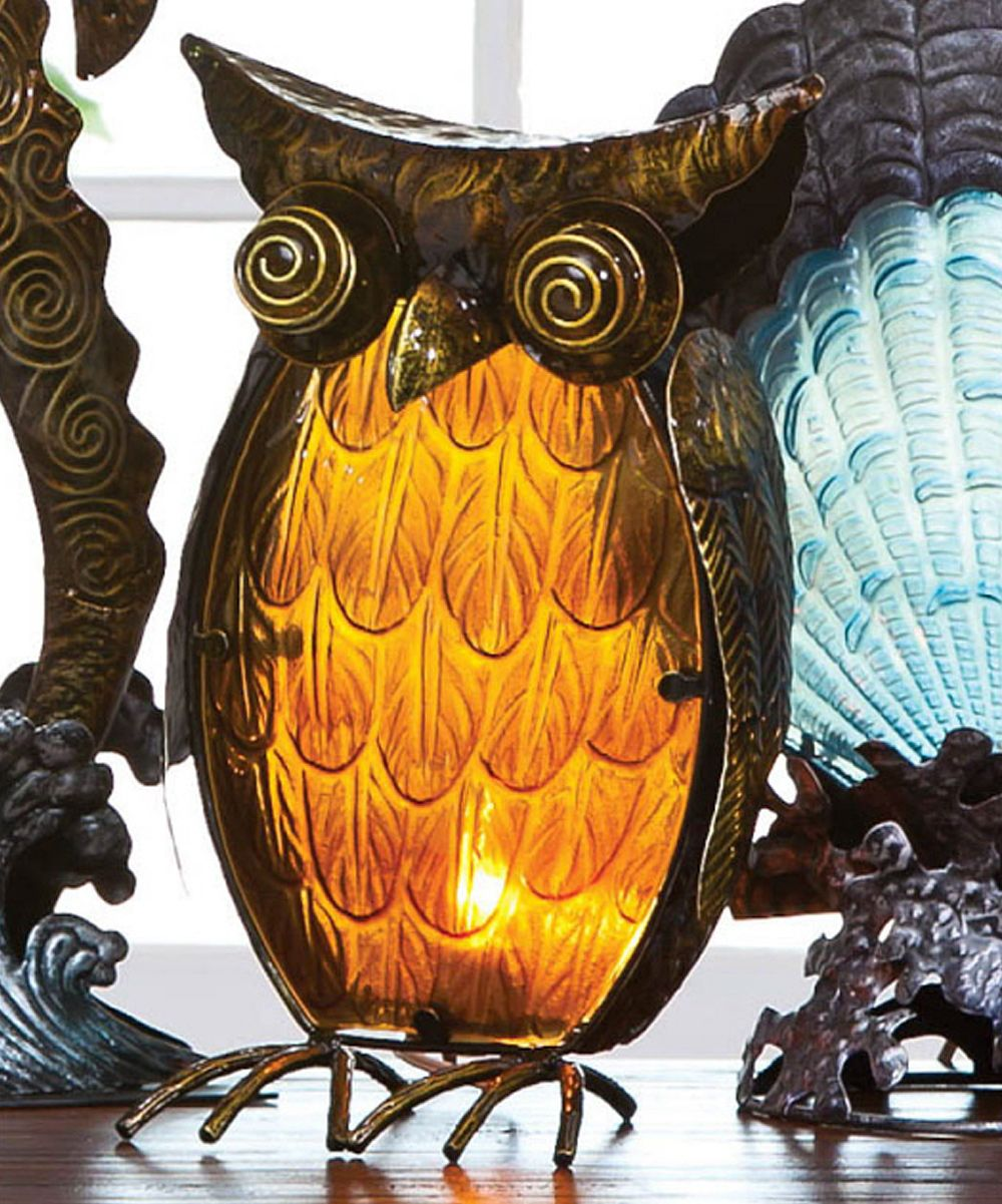 Rust & Amber Owl Lamp