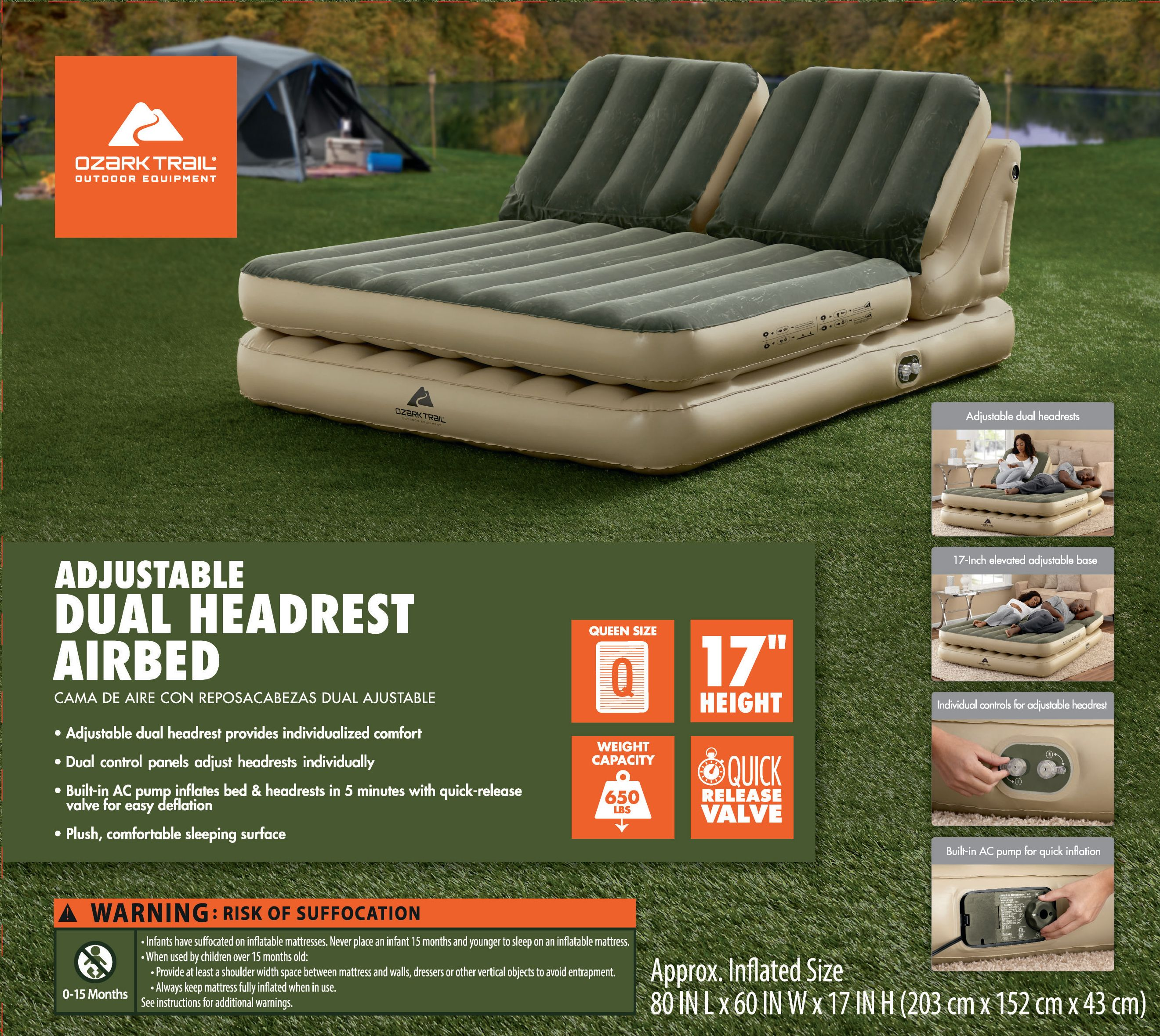 Ozark Trail Adjustable Dual Headrest Airbed Queen Size W
