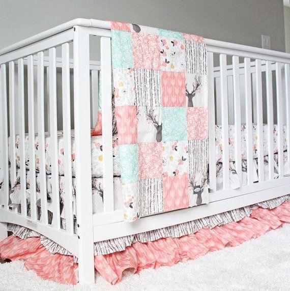 RESERVED for Kari Girl Crib Bedding - Woodlands Fawn Girl Baby Bedding,  Baby… - RESERVED For Kari Girl Crib Bedding - Woodlands Fawn Girl Baby