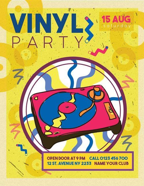 Free Vinyl Retro Party Flyer Template  HttpFreepsdflyerCom