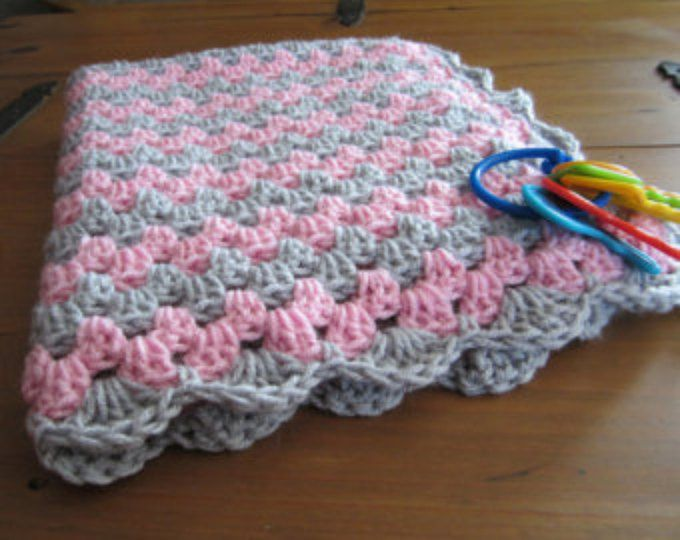 baby girl blanket set, crochet granny stripe, crochet blanket, kitty ...
