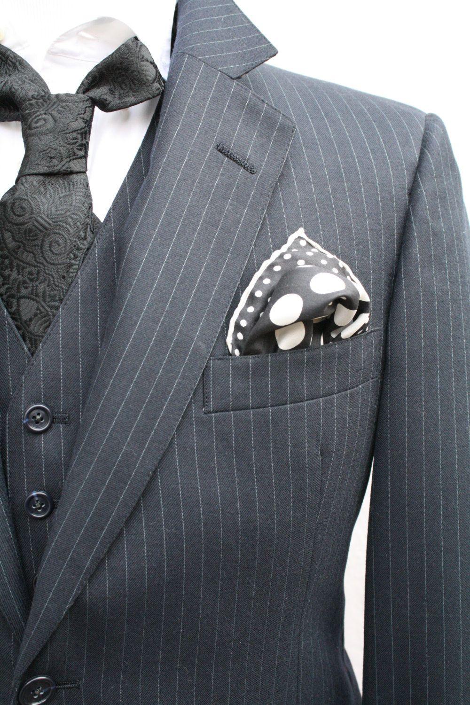 0191e4ecb220e3 Mens Vintage 3 Piece Black Pinstriped Suit Jacket Vest Pants Size 46 Mens  Attire, Mens