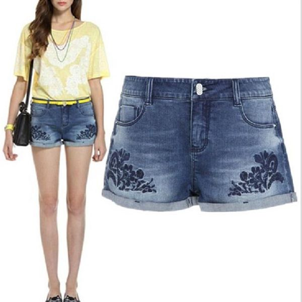 18ad8f6e Women's Fashion Cotton Embroidery Denim Short Pants | Women's Shorts ...