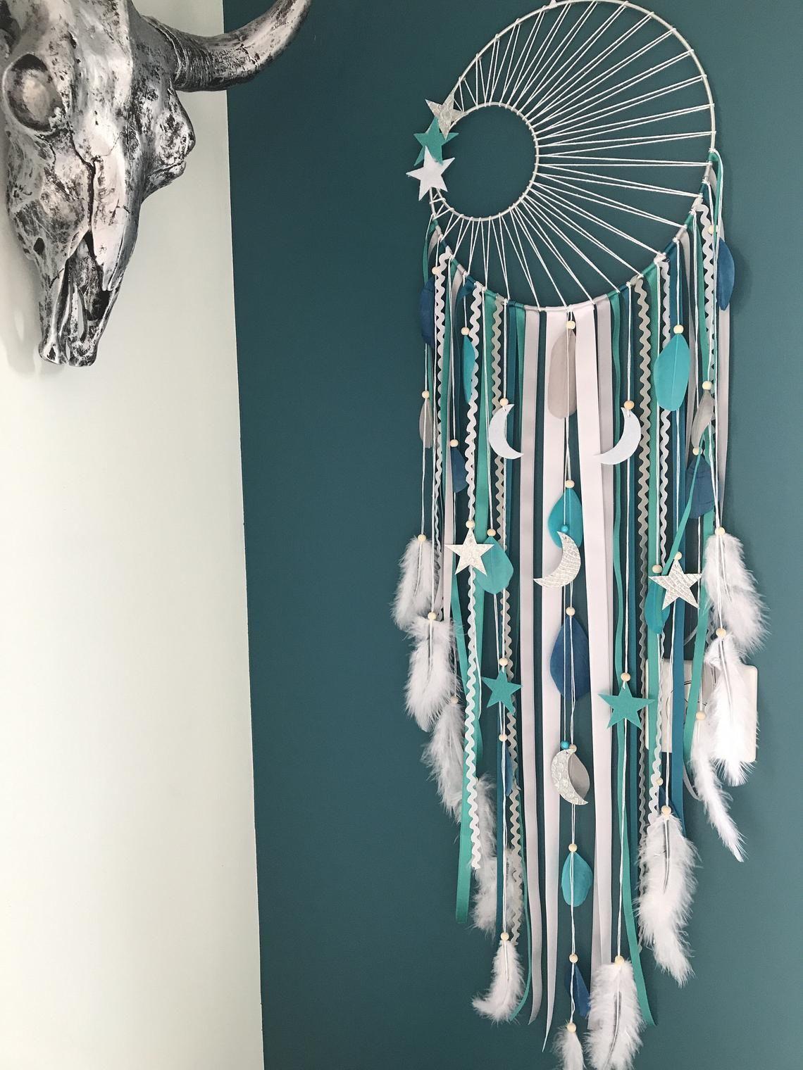 Attrape rêves dreamcatcher tissage soleil, turquoise, canard, gris et blanc geant #dreamcatcher