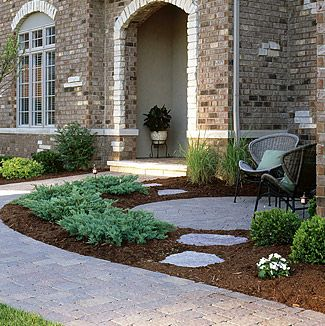 Paver Seating Area In Front Landscaping Courtyard Landscaping