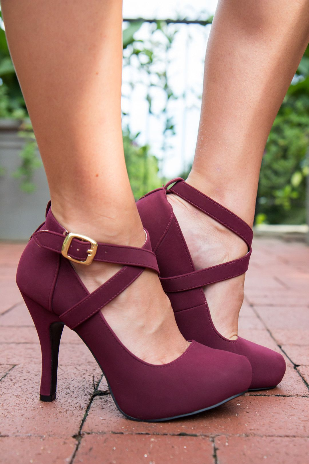 82a011c3ea80 Sassy Strappy Shoes - Wine Vendor  Athena AttireType  ShoesPrice  37.00  These closed toe heels add an element of style to any dress!