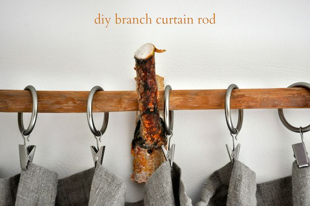 Diy Rustic Branch Curtain Rods With Images Branch Curtain Rods