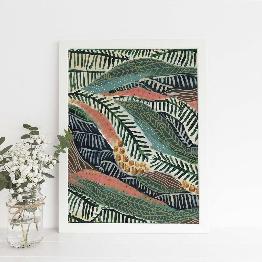 Modern Tropical Jungle Abstract Botanical Pattern Wall Art Print Or Canvas In 2020 Safari Artwork Jungle Wall Art Tropical Wall Art
