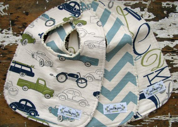 Blue and Green - Baby Bibs for Baby Boy - Navy Retro Cars, Vintage Blue Chevron, and Alphabet - Set of 3