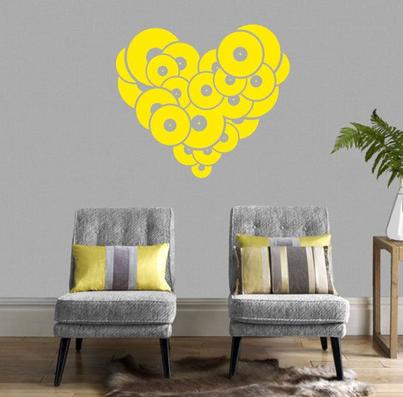 J00043 - Vinyl Record Heart Wall Decal - Music Wall Decal 26\