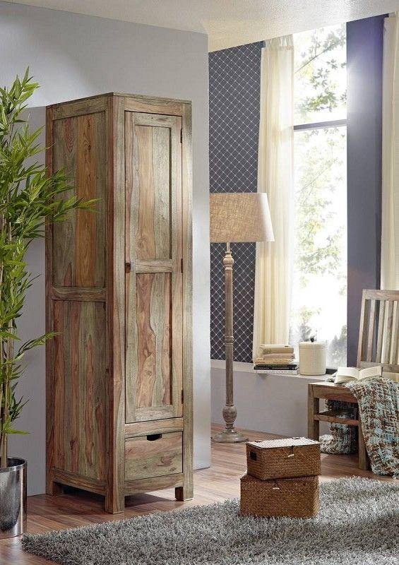 Schrank Sheesham 48x60x200 grau geölt NATURE GREY #98 Jetzt - schrank für wohnzimmer