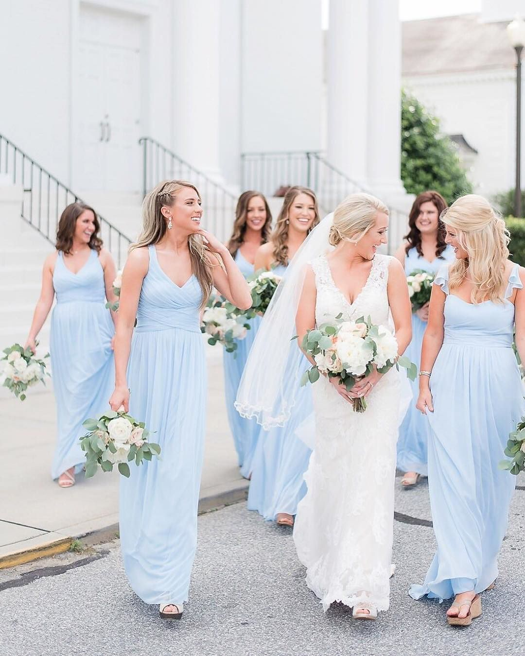 Ice blue and warm smilesese bridesmaids make our monday bright