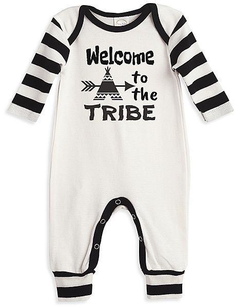 Ivory   Black Stripe  Welcome To The Tribe  Romper - Infant ... 784eb79a3